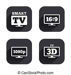 Smart TV mode icon. 3D Television symbol. - Smart TV mode...