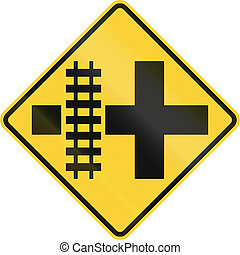 United States MUTCD road sign - Level crossing and...