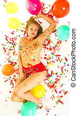 Candy Girl Laying On Floor - sexy young caucasian half naked...