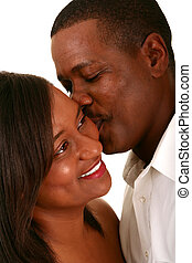 African American Couple Romantic Moment - african american...