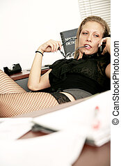 Bored In Office - sexy secretary doing working in her...