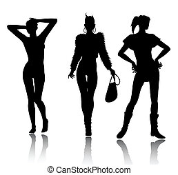 Fashion woman silhouette set - Vector silhouette set of...