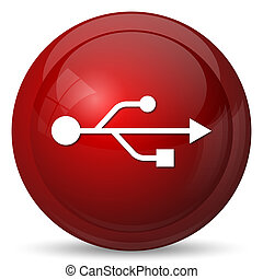 USB icon Internet button on white background