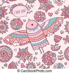 Floral pattern with bird. Valentine