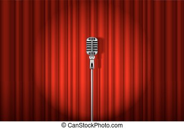 Microphone - Vintage Microphone against red curtain with...