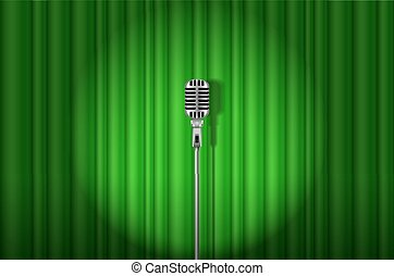 Microphone - Vintage Microphone against green curtain with...
