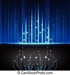 Composition of numbers as modern technology blue background...