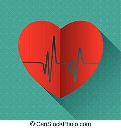 heart and heartbeat vector illustration