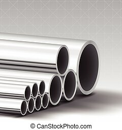 Stainless steel pipe vector background Illustration