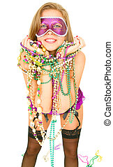 Happy Mardi Gras Girl - young and beautiful caucasian in...