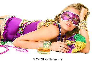 Lazy Mardi Gras Queen - young and beautiful caucasian in...