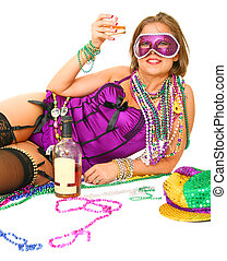 Mardi Gras Girl Holding Alcohol - young and beautiful...
