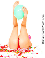 Leg Holding Balloon - young caucasian showing butt and...