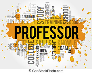Professor word cloud, education concept