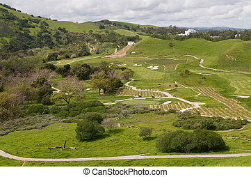 Golf course and vineyard, Del Valle Regional Park,...
