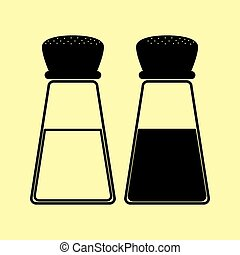 Salt and pepper sign. Flat style icon vector illustration.