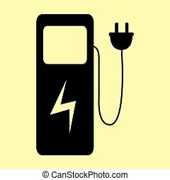 Electric car charging station sign. Flat style icon vector...