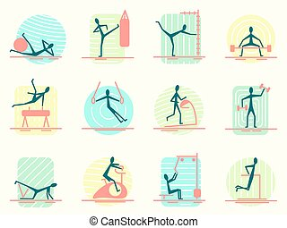 Set of sport equipment icons with person making different...