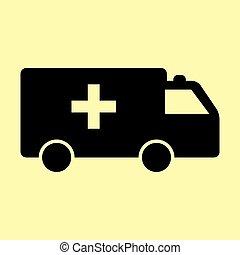 Ambulance sign. Flat style icon vector illustration.