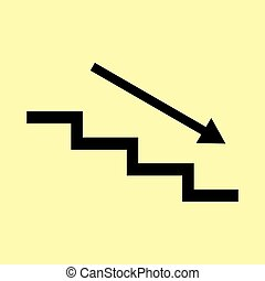 Stair down with arrow