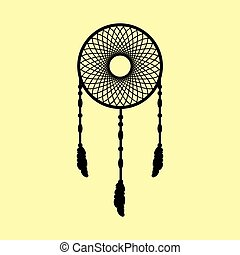 Dream catcher sign. Flat style icon vector illustration.
