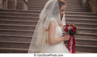 portrait of beautiful bride. smiley face of happy woman....
