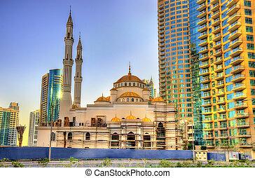 Mosque under construction in Dubai Marina district, UAE