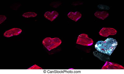 Diamond hearts drops black mirror - Render of diamond hearts...