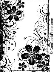 Floral background in black and white colors. - Abstract...
