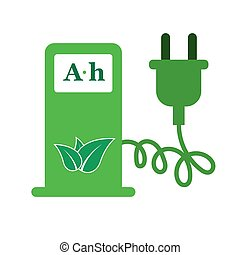 Electric car charging station sign icon vector illustration...