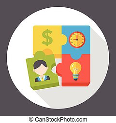business puzzle flat icon