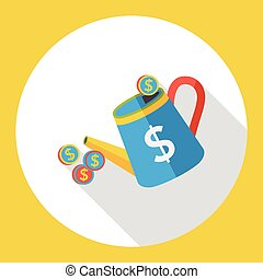 finance watering money flat icon