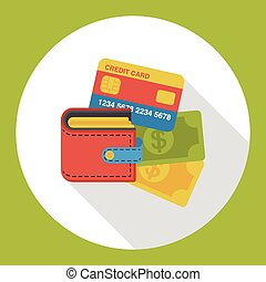 shopping wallet and credit card flat icon