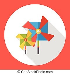 baby toy windmill flat icon