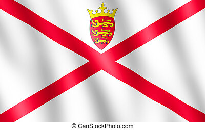 Flag of Bailiwick of Jersey waving in the wind giving an...