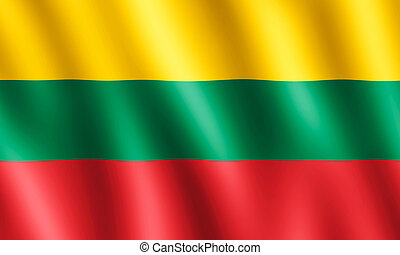 Flag of Lithuania waving in the wind giving an undulating...