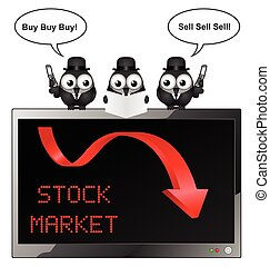 Stock Market Crash - Comical bird businessmen with buy and...