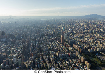 Birds eye view of Taipei, Taiwan in daylight.