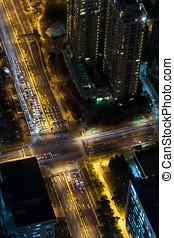 Aerial view of Taipei at night