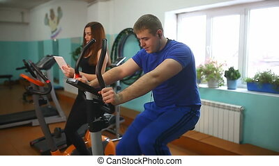 male female gym fitness exercise bike - male female gym...