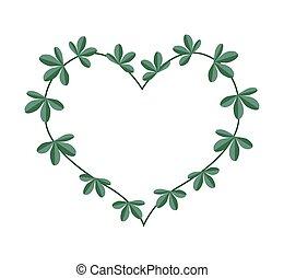 Green Leaves in A Heart Shape Wreath