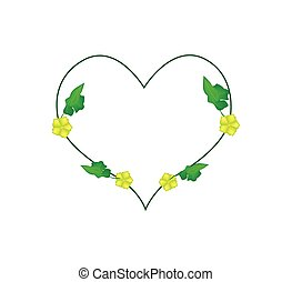 Ivy Plant with Blossoms in Heart Shape - Love Concept,...