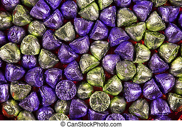 Full frame sweets background - Full frame of chocolate...
