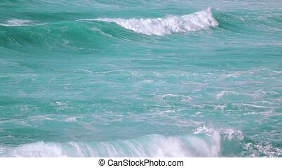 Ocean Waves Breaking on Beach, sunny weather