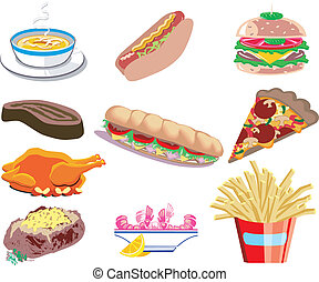 Food Icons - Vector Illustration of ten types of prepared...