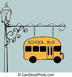 Vintage sign school bus stop. Urban transport. Children and...