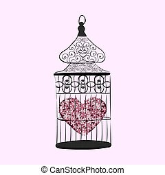 Heart in a cage symbol separation love