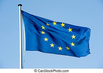 European  flag - European flag waving in the wind