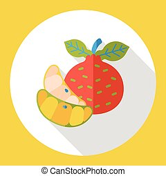 Tangerine fruits flat icon