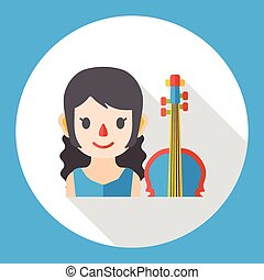 cellist occupation character flat icon
